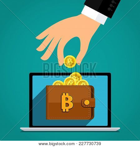 Concept Of Crypto Currency. Businessman Holds A Bitcoin In His Hand And Puts It In A Virtual Wallet.