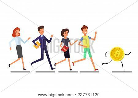 Concept Of Crypto Currency. Buisiness People Running To Bitcoin. Flat Design, Vector Illustration.