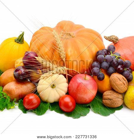 Set Of Fruits And Vegetables Isolated On A White Background.