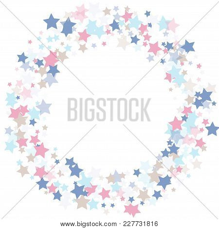 Multicolored Stars Of Confetti. Luxurious Frame In Quiet Colors. Pink, Light Blue, Light Brown, Blue