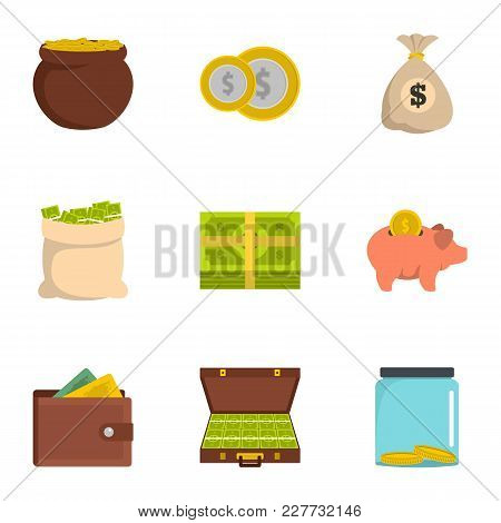 Necessary Funds Icons Set. Flat Set Of 9 Necessary Funds Vector Icons For Web Isolated On White Back