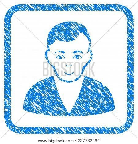 Man Rubber Seal Stamp Watermark. Icon Vector Symbol With Grunge Design And Dust Texture In Rounded R