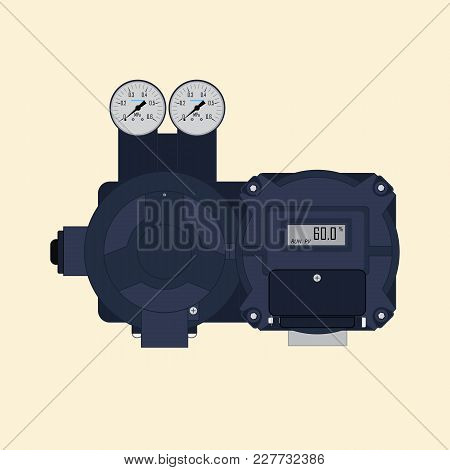 Vector Illustration Of A Multi-turn Actuator For Mechanization And Automation Of Pipeline Fittings.