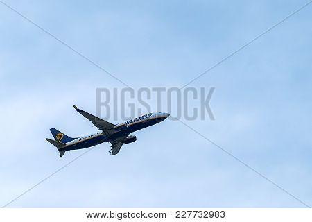 Malaga, Spain - January 13, 2018 . Airliner Of Ryanair Taking Off At Malaga Airport. Ryanair Is The