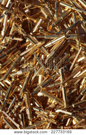 Gold Plated Computer Pins. Backgrounds and Textures