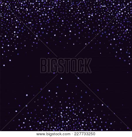 Lilac Shine Of Confetti On A Dark Background. Luxury Festive Background. A Grainy Abstract Texture S
