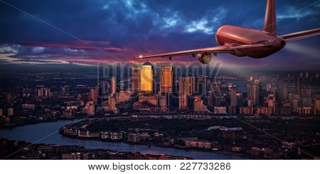 Commercial airplane jetliner flying above business district of London. Travel and business.