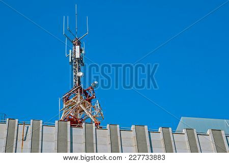 Communication Radio Antena With Blue Clear Sky