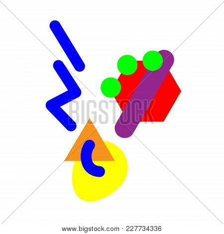 Abstract Geometric Spoon Icon Of Hot Food And Steam. Vector. Isolated Illustration