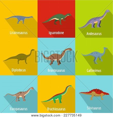 Little Dinosaur Icons Set. Flat Set Of 9 Little Dinosaur Vector Icons For Web Isolated On White Back