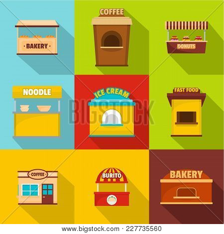 Refreshment Room Icons Set. Flat Set Of 9 Refreshment Room Vector Icons For Web Isolated On White Ba