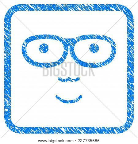 Nerd Face Rubber Seal Stamp Imitation. Icon Vector Symbol With Grunge Design And Unclean Texture In