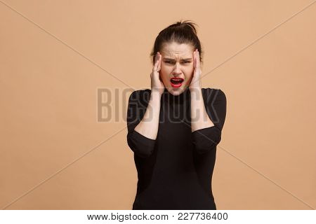 Woman Having Headache. Isolated On Pastel Background. Businesswoman Standing With Pain Isolated On T