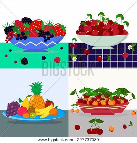 A Set Of Vector Illustrations Different Berries In A Blue Plate, Red Cherry In A Plate, Fruits In A