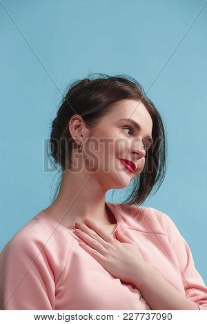 I Am Ok. Happy Business Woman, Smiling, Isolated On Trendy Blue Studio Background. Beautiful Female