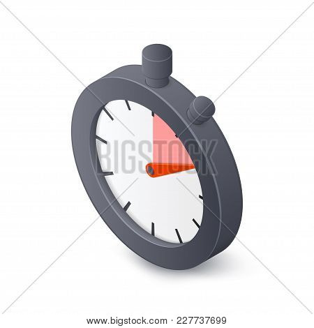 Stopwatch Timer Isolated On White Background. Isometric Vector Illustration.