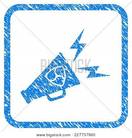 Nem Megaphone Alert Rubber Seal Stamp Watermark. Icon Vector Symbol With Grunge Design And Dust Text