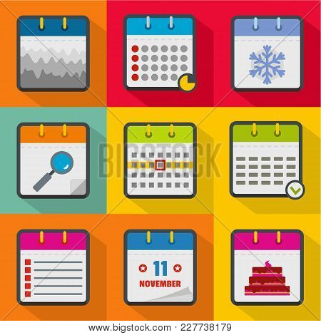 Scheduler Icons Set. Flat Set Of 9 Scheduler Vector Icons For Web Isolated On White Background