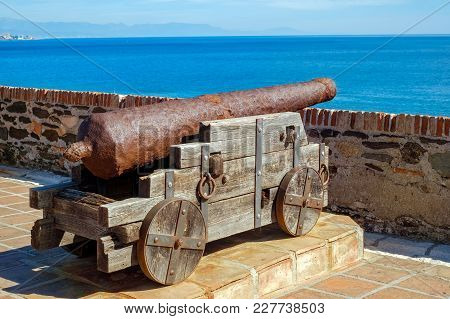 Back View Of Vintage Rusty Cannon, Close View