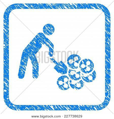 Person Digging Ripple Rubber Seal Stamp Imitation. Icon Vector Symbol With Grunge Design And Dirty T