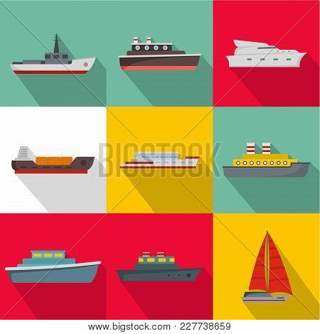 Sea Vessel Icons Set. Flat Set Of 9 Sea Vessel Vector Icons For Web Isolated On White Background
