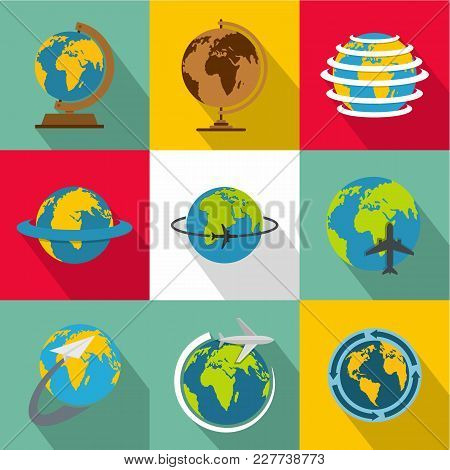 World Map Icons Set. Flat Set Of 9 World Map Vector Icons For Web Isolated On White Background