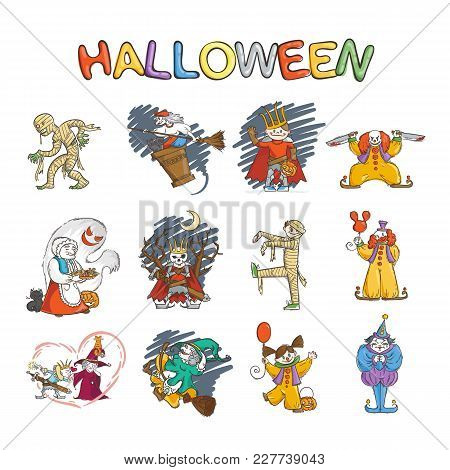 Set Of Kids In Costumes For Halloween. And Witches And Ghouls. Lich Or Russian King Koschey, Mummy,