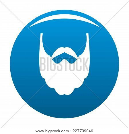 Long Beard Icon Vector Blue Circle Isolated On White Background