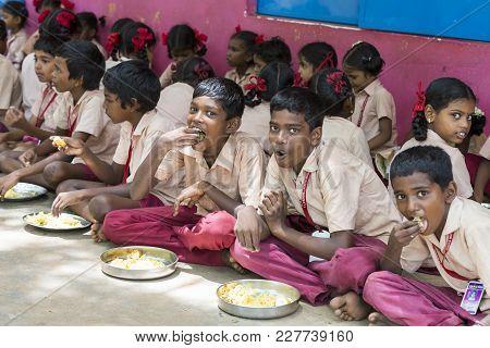 Pondichery, Puduchery, India - September 04, 2017. Unidentified Boys Girls Children Sit On The Floor