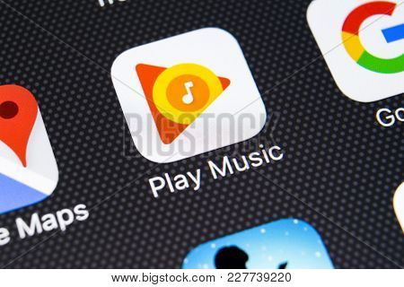Sankt-petersburg, Russia, February 21, 2018: Google Play Music Application Icon On Apple Iphone X Sc