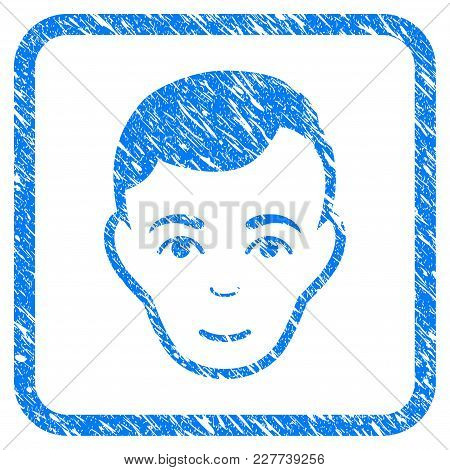 Man Face Rubber Seal Stamp Imitation. Icon Vector Symbol With Grunge Design And Corrosion Texture In
