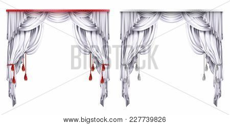 Vector Silk, Velvet Drapes With Red Or White Tassels. Theatrical Curtain With Folds. Decoration Elem