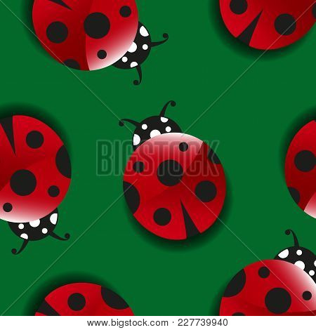 Seamless Pattern With Cute Cartoon Ladybugs On Green Background. Lucky Symbol. Good Luck. Spring, Su