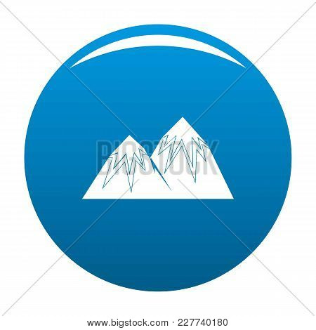 Snow Peak Icon Vector Blue Circle Isolated On White Background