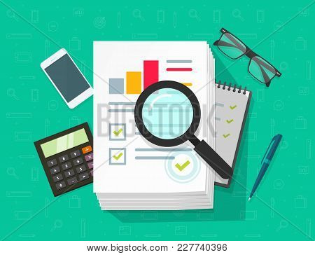 Analytics Data Research Vector, Analysis On Big Pile Of Paper Sheet Documents Via Magnifier, Statist