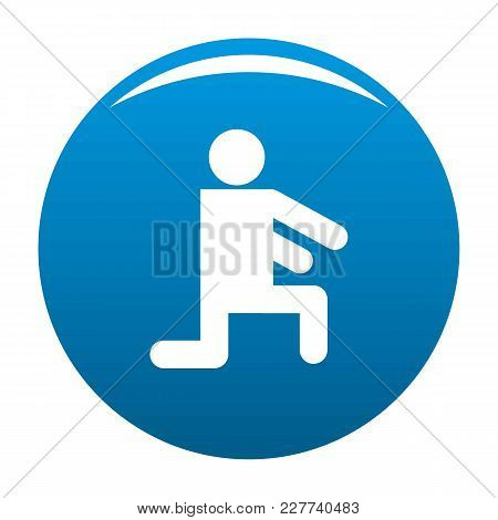 Stick Figure Stickman Icon Vector Blue Circle Isolated On White Background