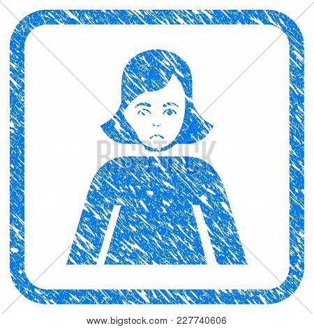 Lady Rubber Seal Stamp Imitation. Icon Vector Symbol With Grunge Design And Dust Texture In Rounded