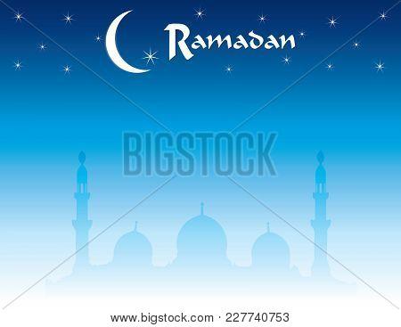 Horizontal Ramadan Skyline With Moon And Stars With Mosque