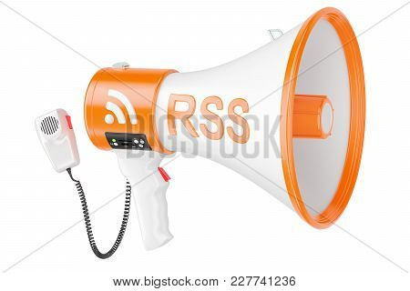 Megaphone With Rss Logo Podcast, 3d Rendering Isolated On White Background