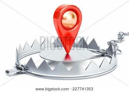 Bear Trap With Map Pointer, 3d Rendering Isolated On White Background