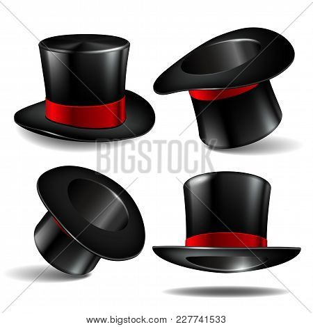 Set Of Black Magician Cylinder Hats With Red Ribbon. Magic Hats Isolated On White Background. Vector