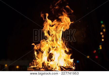 Fire in fireplace with firewood, colorful flames and bokeh lights. Big blaze on black blurred background. Close up view with details, space for text.