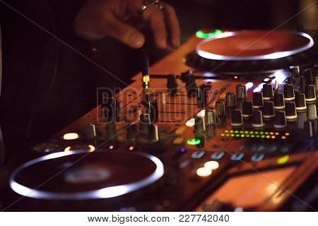 Dj  Sound Mixer Knobs. Music Background
