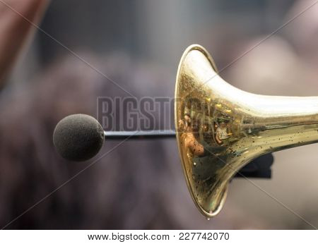 Brass trumpet, front side with microphone for loud sound.People's reflection on it.Close up view with details, blurred background.