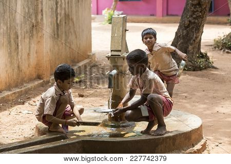 Pondichery, Puduchery, India - September 04, 2017. Unidentified Boys Girls Children Clean Their Plat