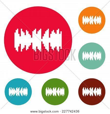 Equalizer Beat Radio Icons Circle Set Vector Isolated On White Background