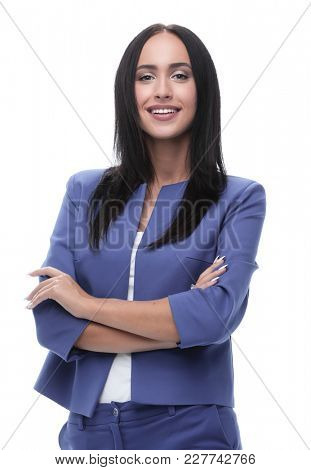 Portrait of young happy smiling businesswoman, isolated on white