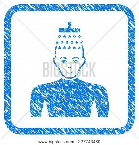 Man Shower Rubber Seal Stamp Watermark. Icon Vector Symbol With Grunge Design And Dust Texture In Ro