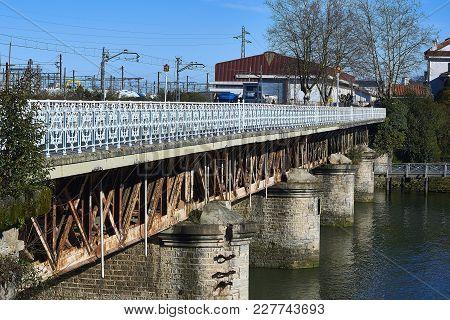 Bridge Over The Bidasoa River On Spain And France Border.
