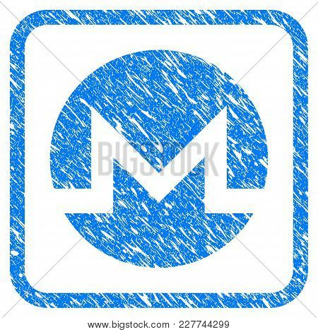 Monero Rubber Seal Stamp Imitation. Icon Vector Symbol With Grunge Design And Dirty Texture Inside R